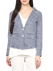 Blue, White Cotton Striped Jacket - By