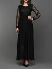 Lace Yoke & Sleeve Maxi Dress - Klick2Style