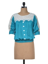 Threequater Sleeve Lace Insert Top - Klick2Style