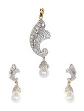 Pearl Drop American Diamond Pendant Set - Homenblingss