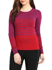 Red & Fusia Pink Colour Cotton Sweater - Northern Lights