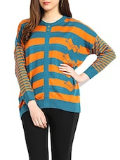 Blue & Orange Colour Acrylic Sweater - Northern Lights