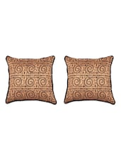 Warli Printed Tussar Silk Cushion Covers (Set Of 2) - SEJ By Nisha Gupta