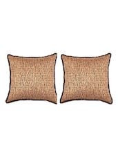 Egyptian Printed Tussar Silk Cushion Covers (Set Of 2) - SEJ By Nisha Gupta