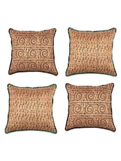 Printed Tussar Silk Cushion Cover (Set Of 4) - SEJ By Nisha Gupta