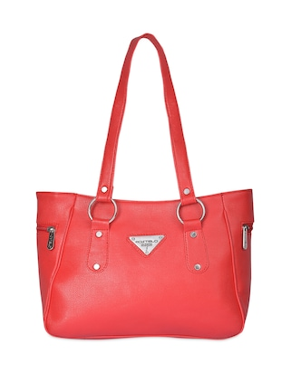 Red Leatherette handbags.