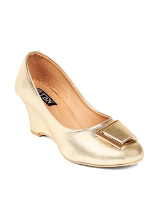 Gold Leatherette Wedges