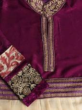 Purple And Beige Embellished Semi-Stitched Suit Set - VarEesha