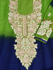 Mehendi Green And Navy Blue Contrasting Semi-Stitched Suit Set - VarEesha