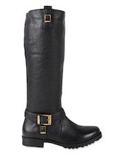 Black Knee-High Leather Riding Boots - Zeta