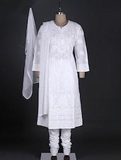 White Cotton Chikankari Stitched Suit Set - Ada - 991197