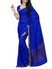 Blue Faux Chiffon Saree With Blouse Piece - By