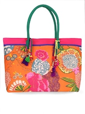 Orange Printed Cotton Shoulder Bag - Jaipur Se
