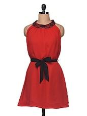 Red  With Black Waist Belt Dress - Anshi