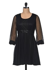 Black  Mesh Dress With Sequined - Anshi