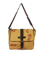 Mustard Jute Cotton Messenger Bag