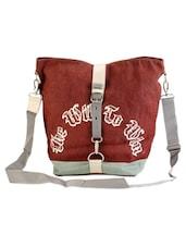 Brown Jute Cotton Quotes Messenger Bag - THE JUTE SHOP