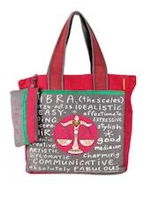 Grey & Red Libra Jute Tote Bag - THE JUTE SHOP