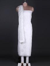 White Chikankari Unstitched Suit Set With Zari - Ada