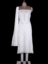 White Faux Georgette Suit Piece - Ada
