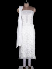White Faux Georgette Suit Piece - Ada