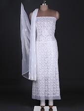 White Chikankari Unstitched Suit Set With Mukaish - Ada