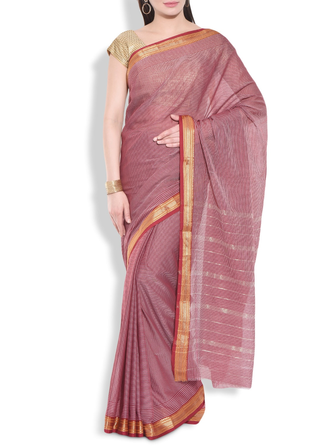 Maroon Cotton Striped Saree With Brocade Border - By