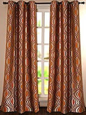 Dark Golden Printed Polyester Door Curtain - Deco Essential