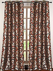 Maroon Geometric Printed Polyester Door Curtain - Deco Essential