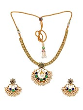 Chic Blue Green Indian Ethnic Necklace Set With Earrings - Maayra