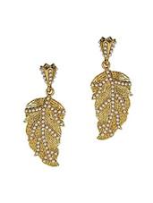 Leaf Gold White Pearl Drop Earrings - Maayra