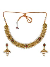 Charming Maroon Green Indian Ethnic Choker Set With Earrings - Maayra