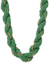 Green Beaded Braided Metal Alloy Necklace - Modish Look
