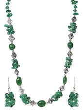 Metal Alloy Green Necklace Earrings Bracelet Set - Modish Look