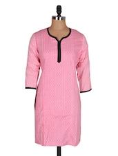 Pink Quarter Sleeves Printed Cotton Kurta - Jaipurkurti.com