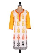 White & Yellow Leaves Print Cotton Kurta - Jaipurkurti.com