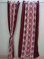 Maroon & White Door Curtain - Wellmade