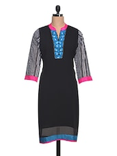Black Embroidered Placket Georgette Kurta - NAVRITI