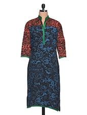 Red & Blue Quoted & Animal Print Rayon Kurta - NAVRITI