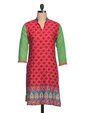 Red & Green Floral Print Cotton Kurta - NAVRITI