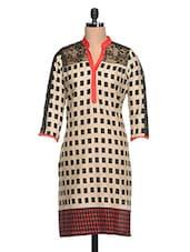 Beige & Black Checkered Cotton Kurta - NAVRITI