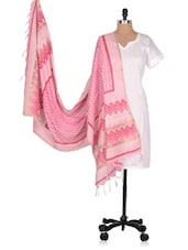 Hand Block  Printed  Chanderi  Dupatta - Geeta Creation - 994205