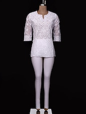 White Chikankari Cotton Top - Ada