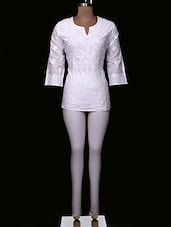 White Chikankari Cotton Top - Ada - 994415