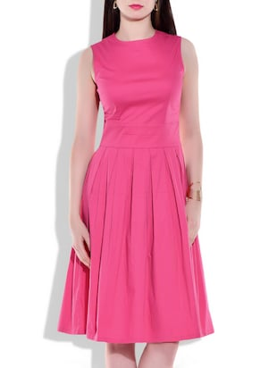 pink Cotton Lycra Pleated dress