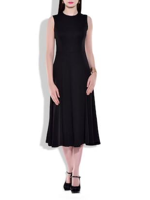 black Knitted Flared dress