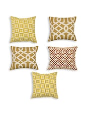 Brown Cotton Set Of 5 Cushion Covers - By