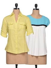 Combo Of Colour Block Top And Yellow Shirt - London Off