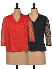 Combo Of Net Sleeve Red & Black Georgette Shirts - London Off