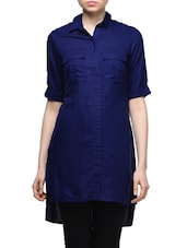 Blue Shirt Collar Tunic - Femella